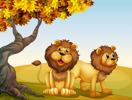 Illustration of a big tree with two lions Vector