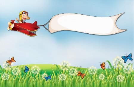 flying monkey: Illustration of a white empty banner carried by the plane with a monkey Illustration