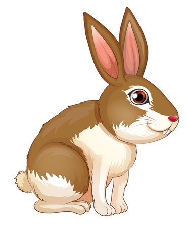pic  picture: Illustration of a fat brown rabbit on a white background