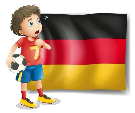 corner flag: Illustration of a soccer player in front of a flag on a white background Illustration