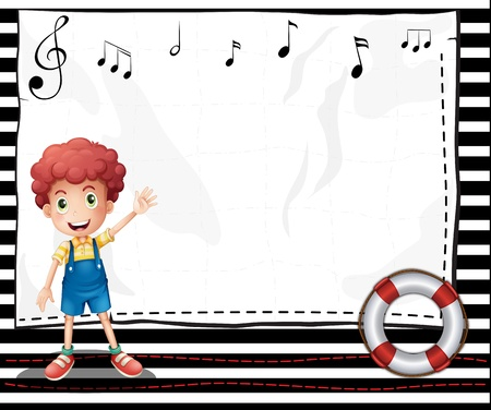 music notes background: Illustration of a boy with an empty signage with musical notes
