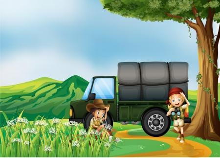 arboles de caricatura: Ilustraci�n de un cami�n de carga militar en las colinas