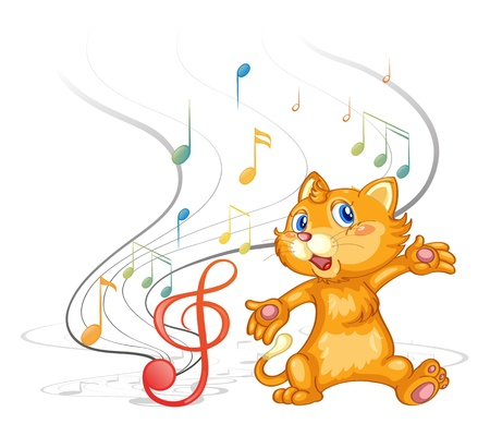 white cat: Illustration of a dancing cat with musical symbols on a white background