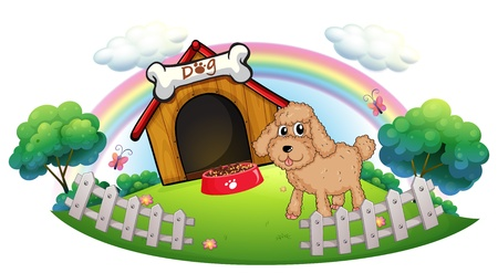 Illustration of a puppy near a wooden doghouse with bone on a white background Vector