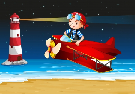 Illustration of an airplane at the beach with a lighthouse Vector