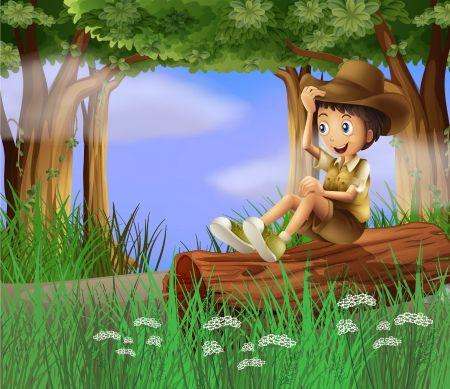 explore: Illustration of a young boy with a hat sitting at the trunk Illustration