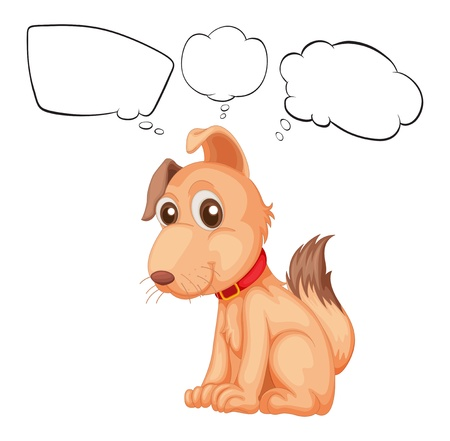 thinks: Illustration of a puppy with a red dog-tie thinking on a white background Illustration