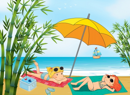 Illustration of two lovely girls relaxing at the beach Vector