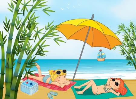 sunbathing: Illustration of two lovely girls relaxing at the beach