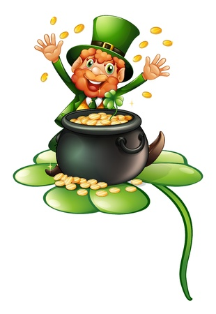 Illustration of an old man in a green attire with a pot of coins on a white background Vector