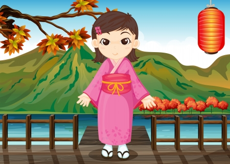 chinese dress: Illustration of a girl wearing a chinese dress Illustration
