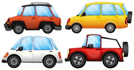 carritos de juguete: Ilustración de los cuatro dispositivos de transporte sobre un fondo blanco Vectores