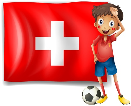 swiss insignia: Illustration of a soccer player in front of a swiss flag on a white background