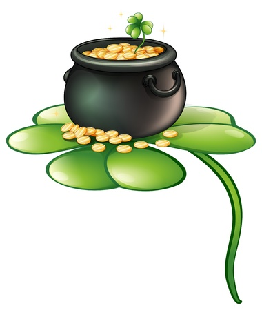 three leafed clover: Illustration of a pot of coins above a green plant on a white background