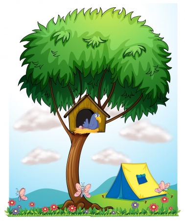 Illustration of a pethouse above a tree near the tent Vector
