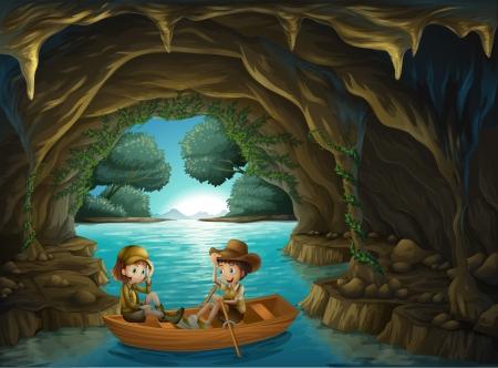 Illustratie van een grot met twee kinderen rijden in een houten boot