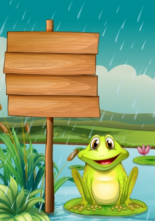 frog illustration: Illustration of an empty board with a green frog Illustration