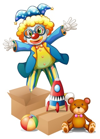 Illustration of a clown with toys on a white background Stock Vector - 18266229