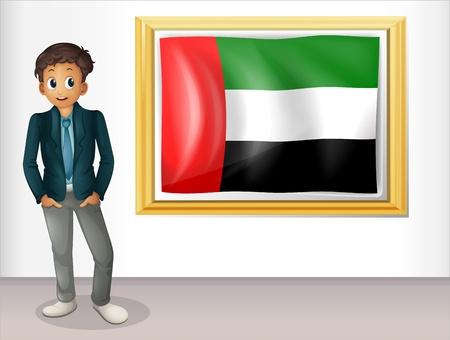 beside: Illustration of a gentleman beside a flag of United Arab Emirates Illustration