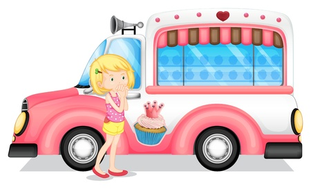 Illustration of a young girl beside the pink bus on a white background Vector