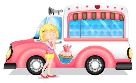 teherautók: Illusztráció egy fiatal lány mellett a rózsaszín busz, fehér alapon