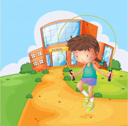 Illustration of a girl playing near the school Stock Vector - 18265888