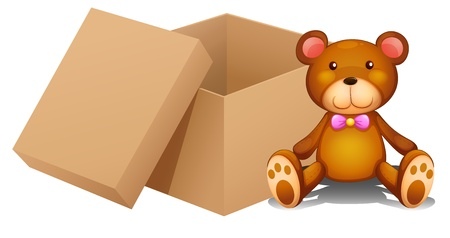 toy box: Illustration of a toy and a box on a white background