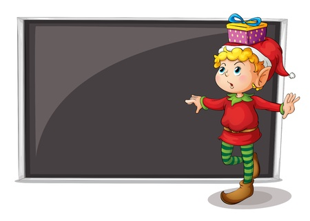 Illustration of a female elf beside an empty gray board on a white background Vector
