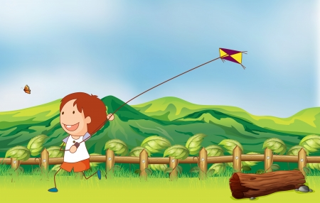 flying man: Illustration of a boy flying his kite at the bridge