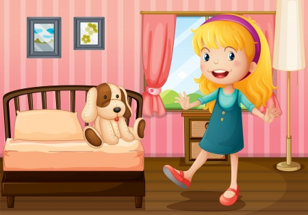 Illustration of a little girl and her toy inside the bedroom Vector