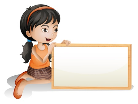 child holding sign: Illustration of a little girl holding a blank signboard on a white background