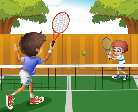 racquet: Illustration of two boys playing tennis inside the fence