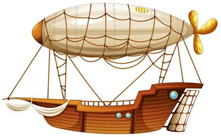 luftschiff: Illustration eines Luftschiffes auf wei�em Hintergrund