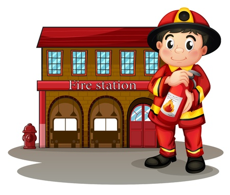 Illustration of a fireman in front of a fire station holding a fire extinguisher on a white background Vector