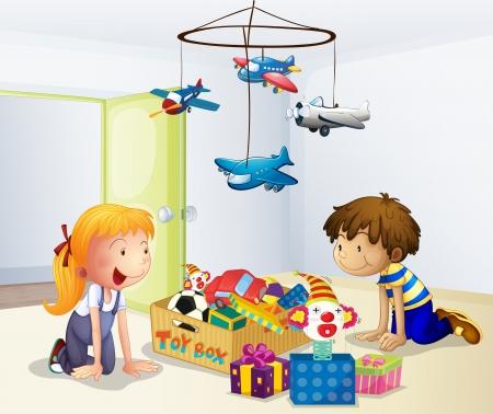 jouet: Illustration d'un gar�on et une fille jouant � l'int�rieur de la maison