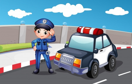 cartoon police officer: Illustration of a police officer at the street