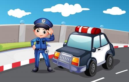 patrol cop: Ilustraci�n de un oficial de polic�a en la calle