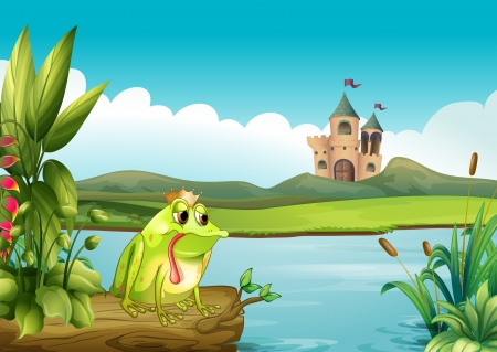 Illustration of a frog above a floating trunk across the castle Vector