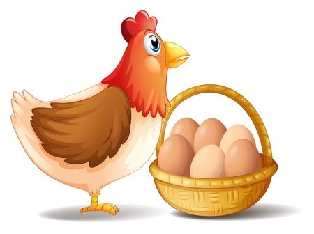 母雌鶏および白い背景の上の卵のバスケットのイラスト  イラスト・ベクター素材