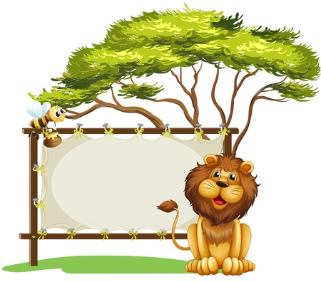 Illustration of an empty space with a lion and a bee on a white background Vector
