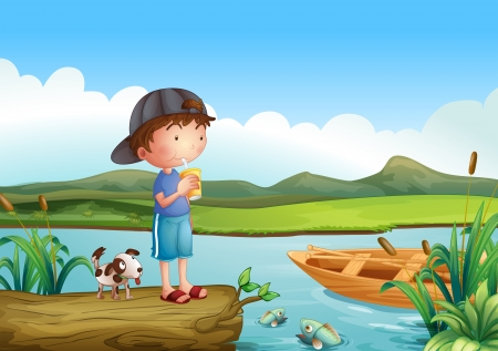 Illustration of a boy and a dog above a floating trunk Vector