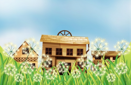 Illustration of the three kinds of wooden houses Stock Vector - 18266270