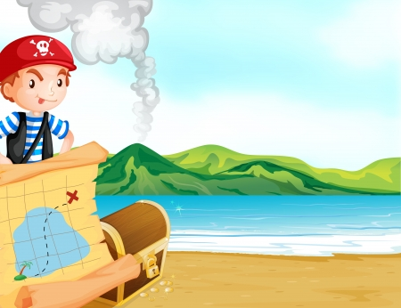 Illustration of a pirate with a map near the seashore