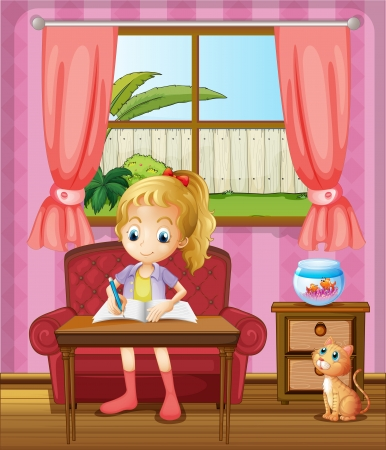 lawn chair: Illustration of a girl writing inside the house with a cat