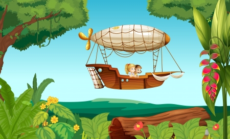 forest clipart: Illustration of an airship flying with two young girls