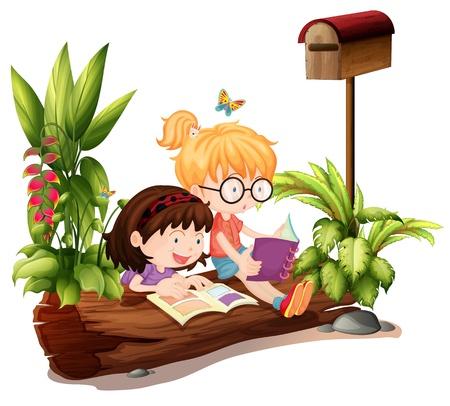 mujer leyendo libro: Ilustración de las dos jóvenes cerca del buzón de madera sobre un fondo blanco
