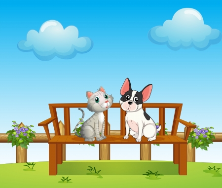 cat dog: Illustration of a cat and a dog at the bench
