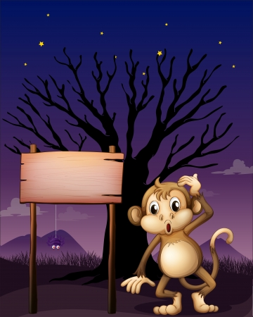 menu land: Illustration of a signboard with a monkey