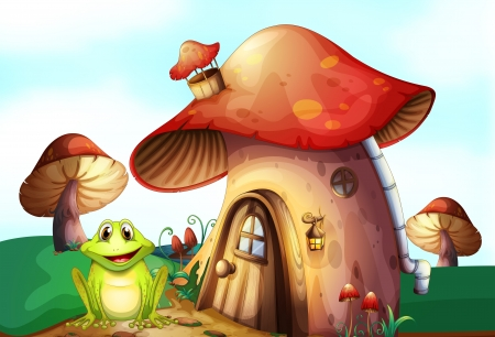 Illustration of a green frog near a mushroom house