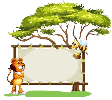 Illustration of a framed empty banner with an animal and an insect on a white background Vector